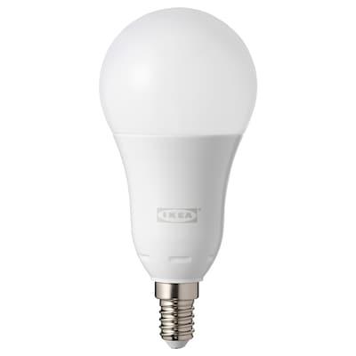 TRÅDFRI LED bulb E14 600 lumen, wireless dimmable colour and white spectrum/globe opal white