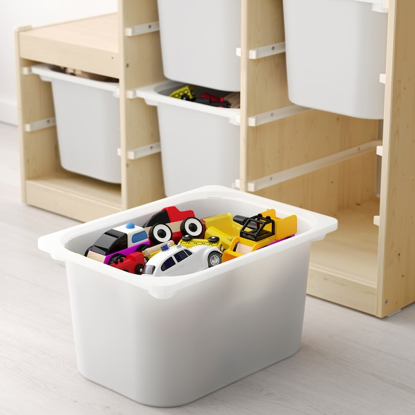 TROFAST Storage combination, light white stained pine/grey, 94x44x91 cm