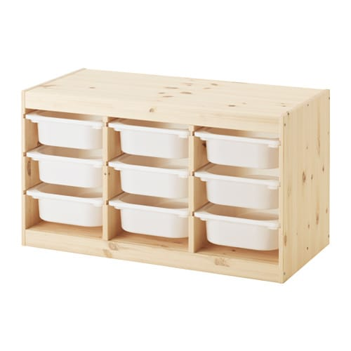 Trofast storage combination with boxes pine white ikea for Pine desk ikea