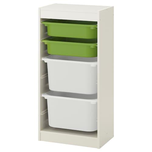 TROFAST storage combination with boxes white/green white 46 cm 30 cm 95 cm