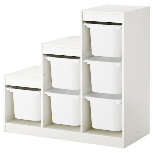 TROFAST storage combination with boxes white 99 cm 44 cm 95 cm