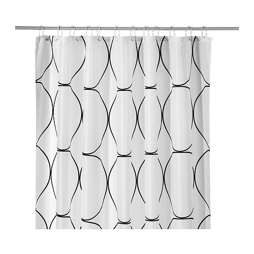 UDDGRUND Shower curtain   Elastic sewn into the bottom edge adds weight; prevents the curtain from being drawn towards the body.
