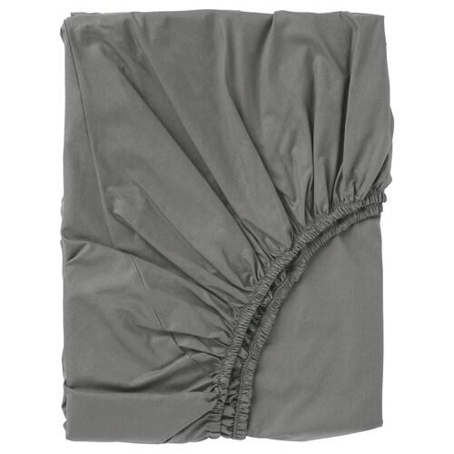 ULLVIDE fitted sheet grey 200 /inch² 200 cm 90 cm