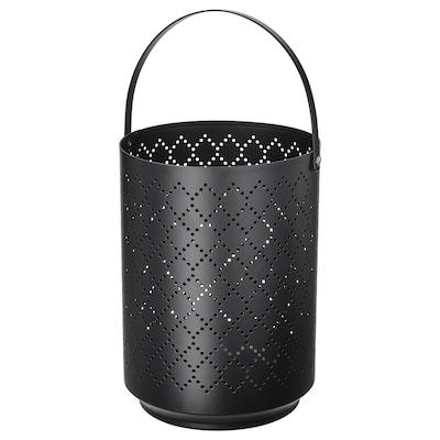URSKILJA Lantern for block candle, black, 22 cm