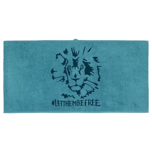 URSKOG bath towel lion/blue 140 cm 70 cm