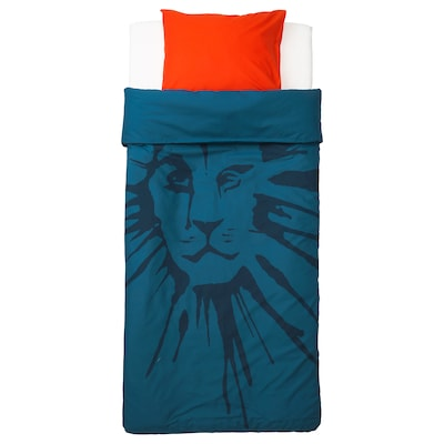 URSKOG Quilt cover and pillowcase, lion/dark blue, 150x200/50x80 cm