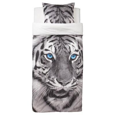 URSKOG Quilt cover and pillowcase, tiger/grey, 150x200/50x80 cm