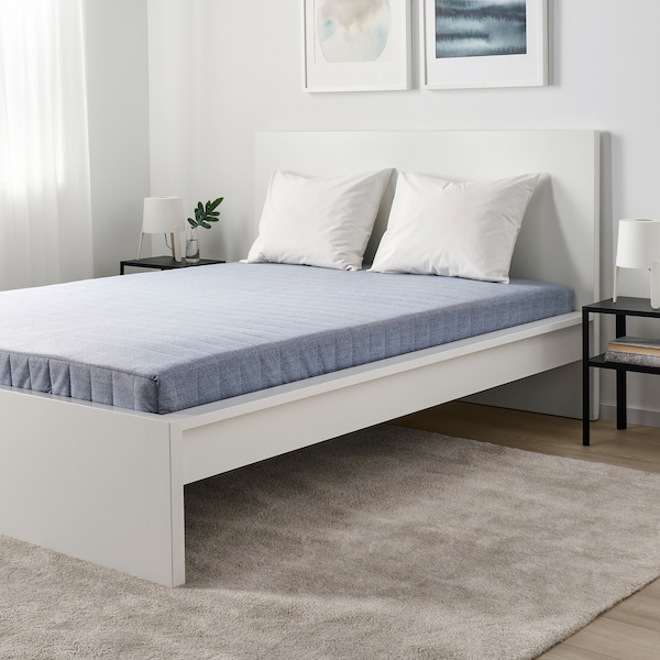 VADSÖ Sprung mattress, extra firm/light blue, 90x200 cm