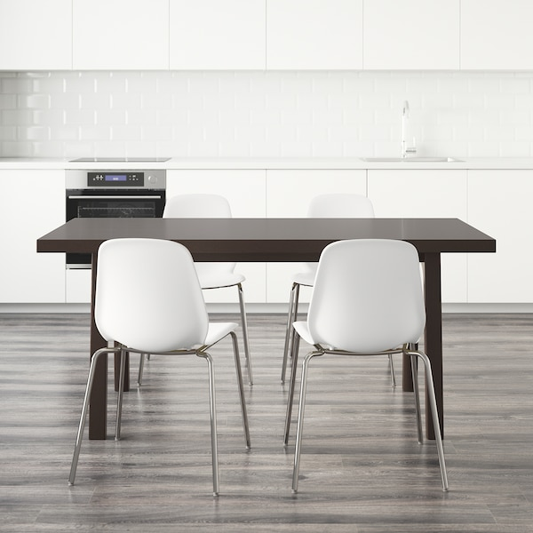 VÄSTANBY/VÄSTANÅ / LEIFARNE table and 4 chairs dark brown/white 170 cm 78 cm 75 cm