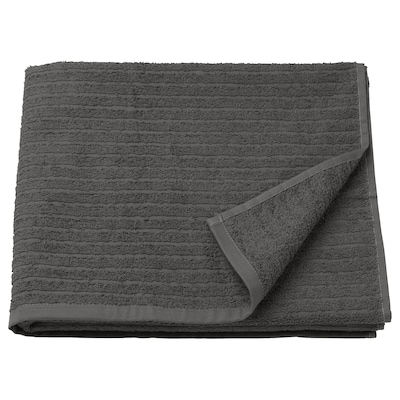 VÅGSJÖN Bath towel, dark grey, 70x140 cm