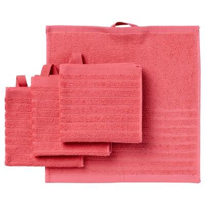 VÅGSJÖN Washcloth, light red, 30x30 cm