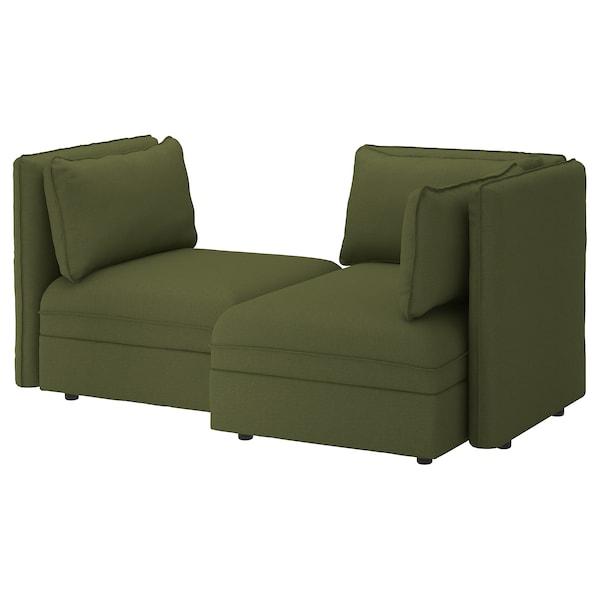 VALLENTUNA 2-seat modular sofa, with storage/Orrsta olive-green
