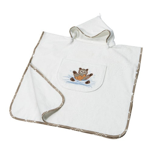 VANDRING Towel with hood   Hood with plastic press studs; easy to put on and take off, opens easily.  Embroidered motifs.