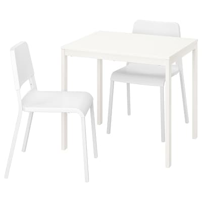 VANGSTA / TEODORES Table and 2 chairs, white/white, 80/120 cm