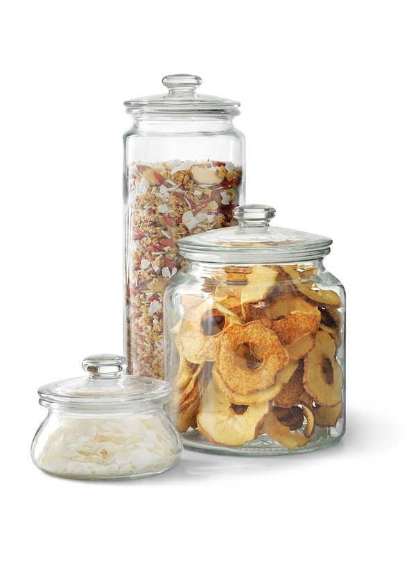 VARDAGEN Jar with lid, clear glass, 1.9 l