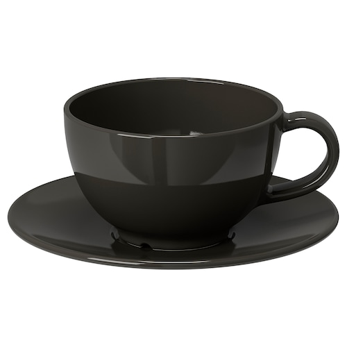 VARDAGEN teacup with saucer dark grey 16 cm 7 cm 6 cm 26 cl
