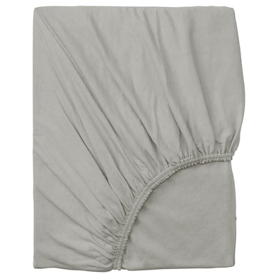 VÅRVIAL Fitted sheet, light grey, 90x200 cm