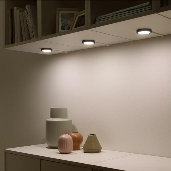 VAXMYRA LED spotlight, black, 6.8 cm