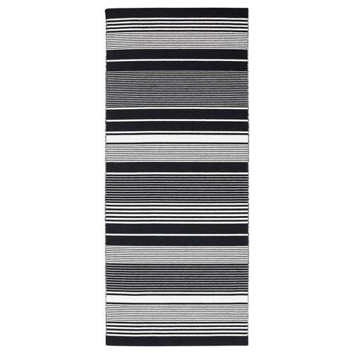 VESLÖS rug, flatwoven black/white/stripe 200 cm 80 cm 7 mm 1.60 m² 1985 g/m²
