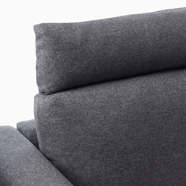 VIMLE 3-seat sofa, with chaise longue with headrest/Gunnared medium grey