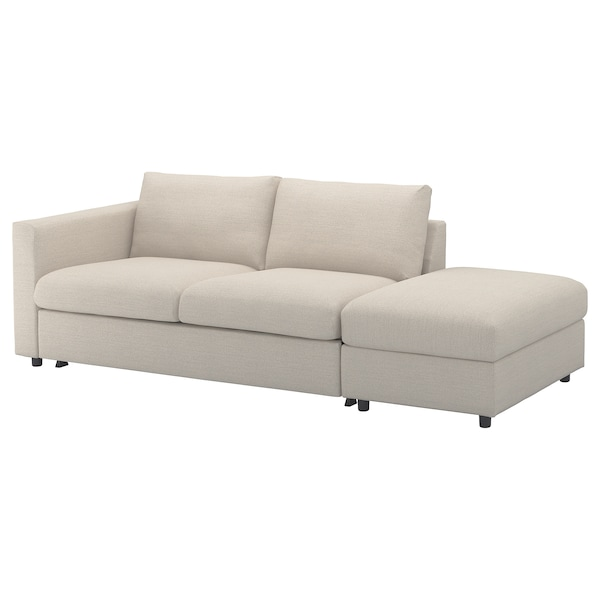 VIMLE Cover for 3-seat sofa-bed, with open end/Gunnared beige