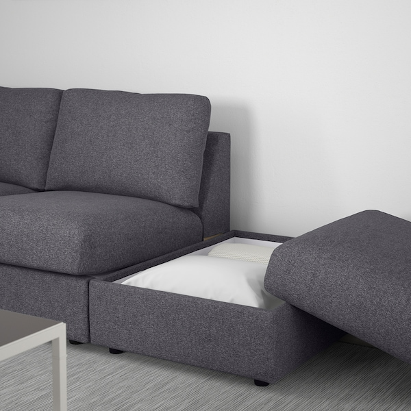 VIMLE U-shaped sofa, 6 seat, with open end/Gunnared medium grey
