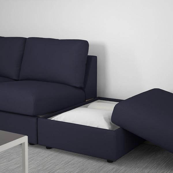 VIMLE U-shaped sofa, 6 seat, with open end/Orrsta black-blue