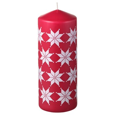 VINTER 2021 Unscented block candle, star pattern white/red, 20 cm