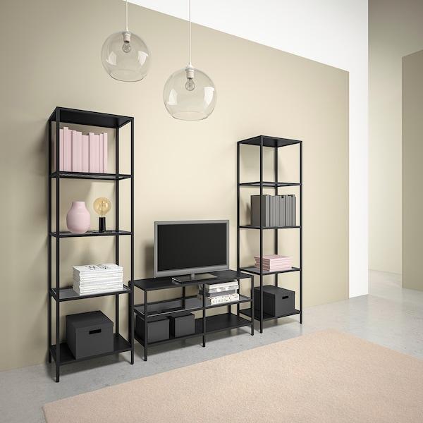 VITTSJÖ TV storage combination, black-brown/glass, 202x36x175 cm