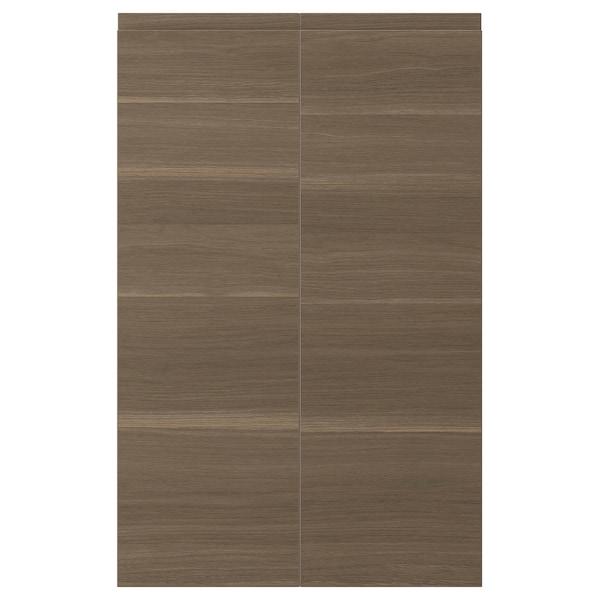 VOXTORP 2-p door f corner base cabinet set, right-hand/walnut effect, 25x80 cm