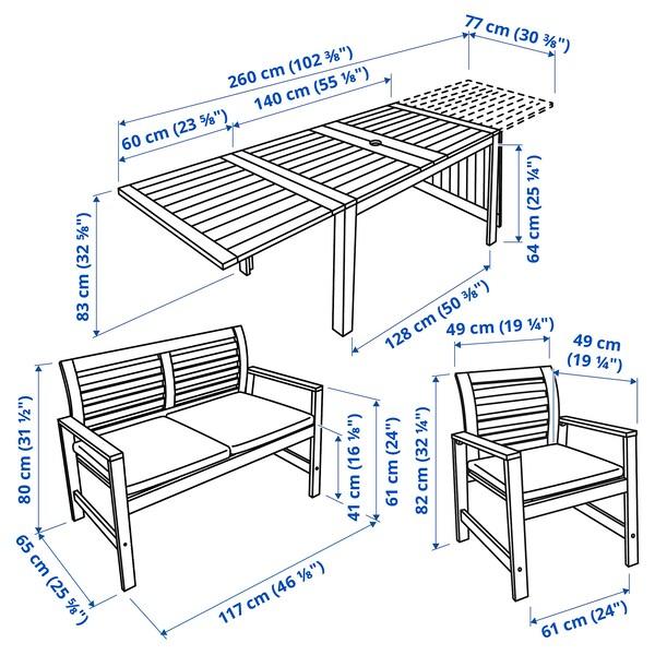 ÄPPLARÖ แอ็ปปลาเรอ โต๊ะ+เก้าอี้มีที่วางแขน2ตัว+ม้านั่ง, ย้อมสีน้ำตาล/ฟรัวเซิน/ดูฟโฮลเมน เบจ