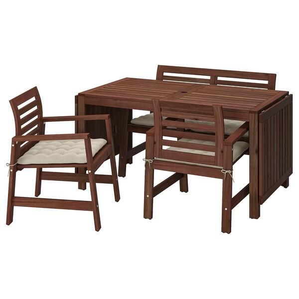 ÄPPLARÖ แอ็ปปลาเรอ โต๊ะ+เก้าอี้มีที่วางแขน2ตัว+ม้านั่ง, ย้อมสีน้ำตาล/โฮลเออ เบจ