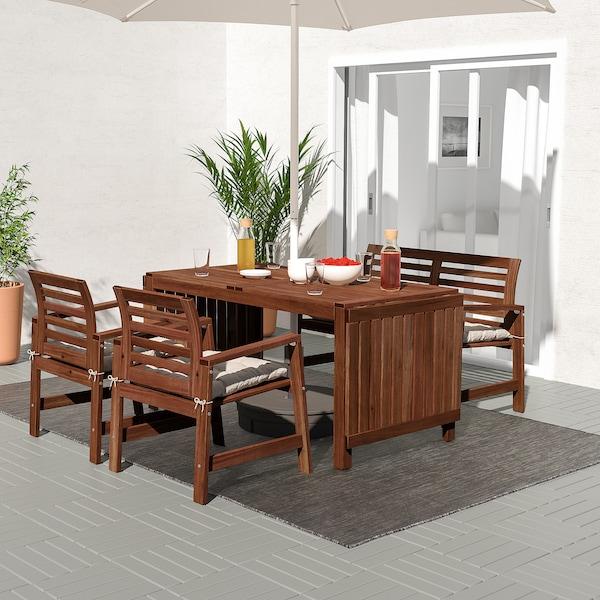 ÄPPLARÖ แอ็ปปลาเรอ โต๊ะ+เก้าอี้มีที่วางแขน2ตัว+ม้านั่ง, ย้อมสีน้ำตาล/คุดดาร์นา เทา