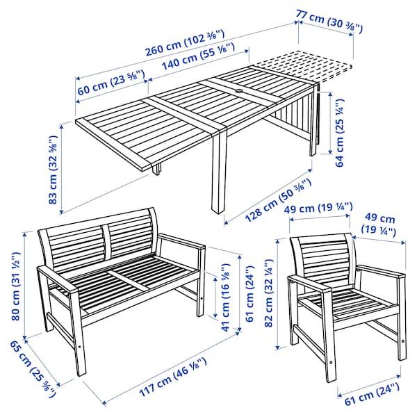 ÄPPLARÖ แอ็ปปลาเรอ โต๊ะ+เก้าอี้มีที่วางแขน2ตัว+ม้านั่ง, ย้อมสีน้ำตาล