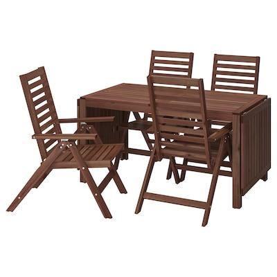 ÄPPLARÖ แอ็ปปลาเรอ โต๊ะ+เก้าอี้ปรับเอนได้4ตัว กลางแจ้ง, ย้อมสีน้ำตาล