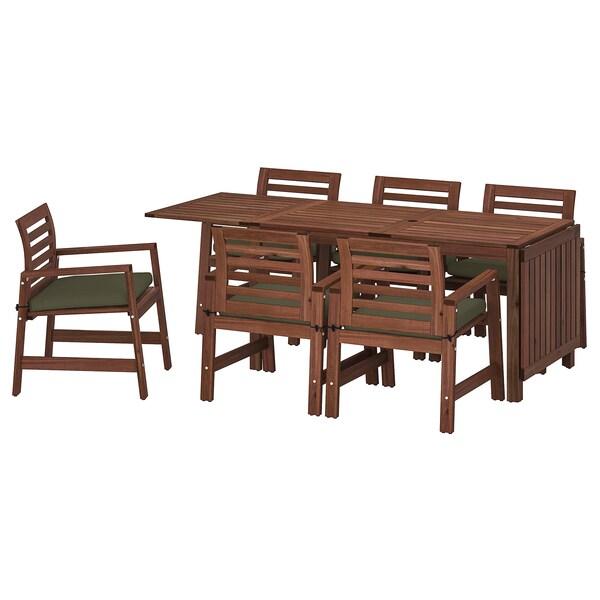 ÄPPLARÖ แอ็ปปลาเรอ โต๊ะ+เก้าอี้มีแขน6ตัว กลางแจ้ง