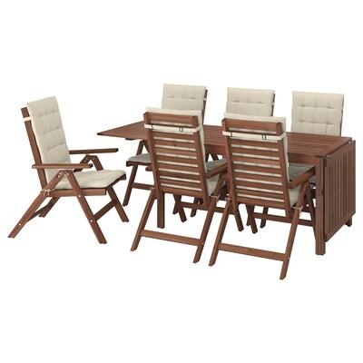 ÄPPLARÖ แอ็ปปลาเรอ โต๊ะ+เก้าอี้ปรับเอนได้6ตัว กลางแจ้ง, ย้อมสีน้ำตาล/โฮลเออ เบจ