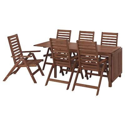 ÄPPLARÖ แอ็ปปลาเรอ โต๊ะ+เก้าอี้ปรับเอนได้6ตัว กลางแจ้ง, ย้อมสีน้ำตาล
