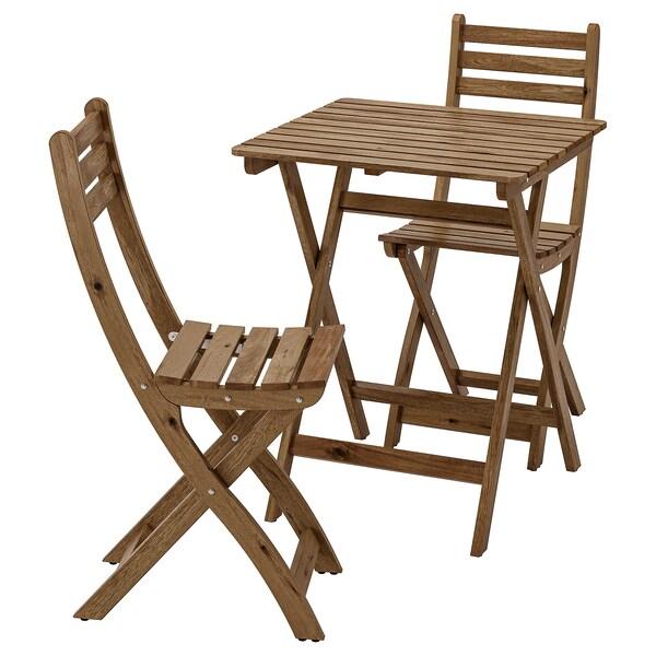 ASKHOLMEN อัสค์โฮล์มเมน โต๊ะ+เก้าอี้ 2 ตัว กลางแจ้ง, ย้อมสีน้ำตาลเทา