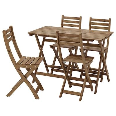 ASKHOLMEN อัสค์โฮล์มเมน โต๊ะ+เก้าอี้ 4 ตัว กลางแจ้ง, ย้อมสีน้ำตาลเทา
