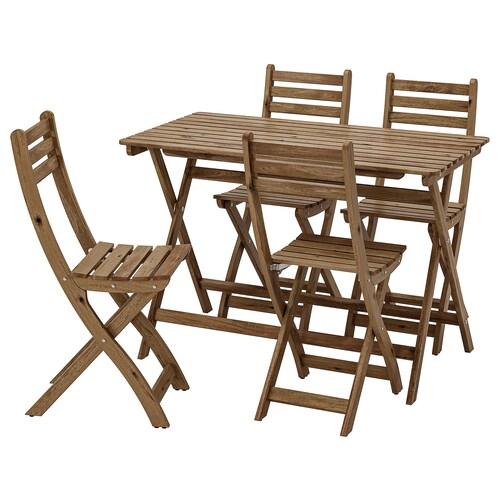 อัสค์โฮล์มเมน โต๊ะ+เก้าอี้ 4 ตัว กลางแจ้ง ย้อมสีน้ำตาลเทา