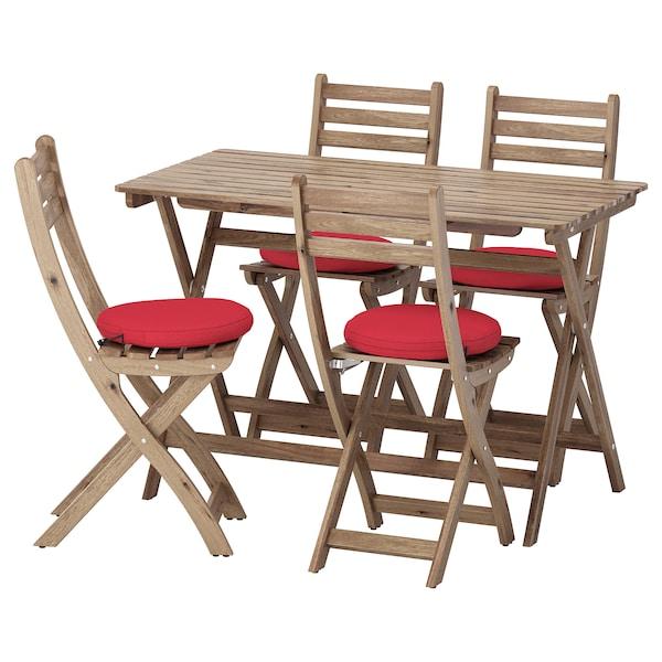 อัสค์โฮล์มเมน ชุดโต๊ะ+เก้าอี้สนาม 4 ตัว ย้อมสีน้ำตาลเทา/ฟรัวเซิน/ดูฟโฮลเมน แดง