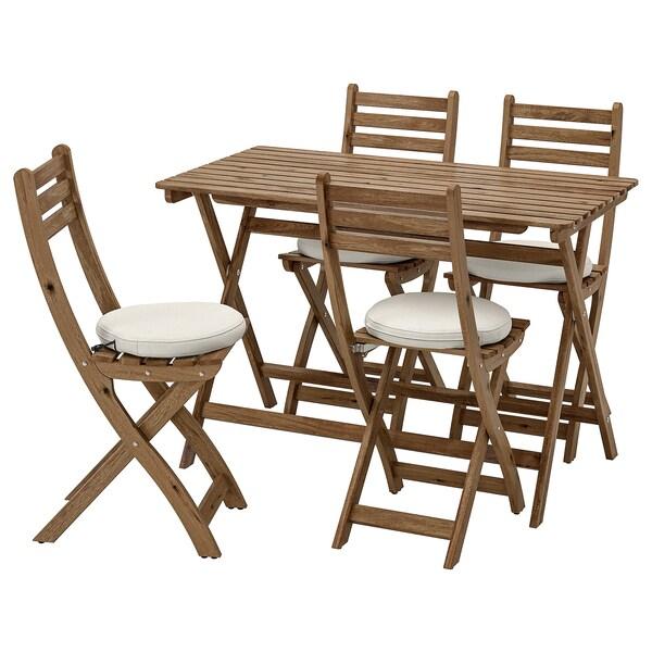 อัสค์โฮล์มเมน ชุดโต๊ะ+เก้าอี้สนาม 4 ตัว ย้อมสีน้ำตาลเทา/ฟรัวเซิน/ดูฟโฮลเมน เบจ