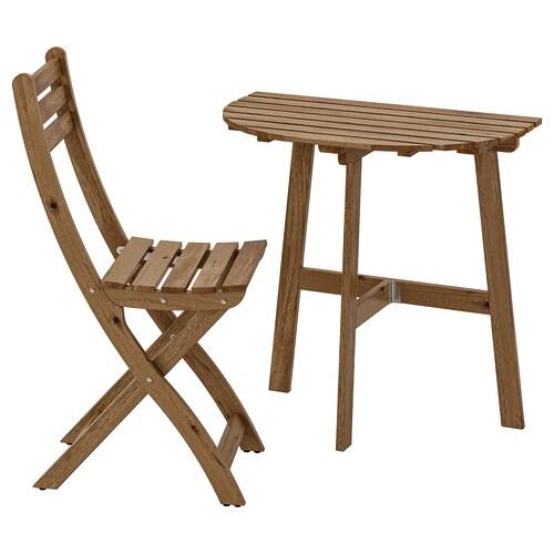 อัสค์โฮล์มเมน โต๊ะสนามแบบยึดผนัง+เก้าอี้พับ ย้อมสีน้ำตาลเทา
