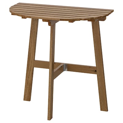ASKHOLMEN อัสค์โฮล์มเมน โต๊ะสนามแบบยึดผนัง, พับได้ ย้อมสีน้ำตาลอ่อน, 70x44 ซม.