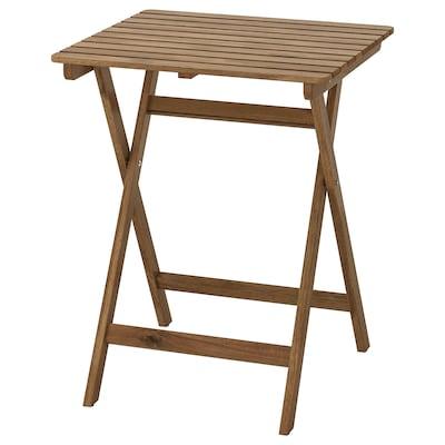 ASKHOLMEN อัสค์โฮล์มเมน โต๊ะ กลางแจ้ง, พับได้ ย้อมสีน้ำตาลอ่อน, 60x62 ซม.