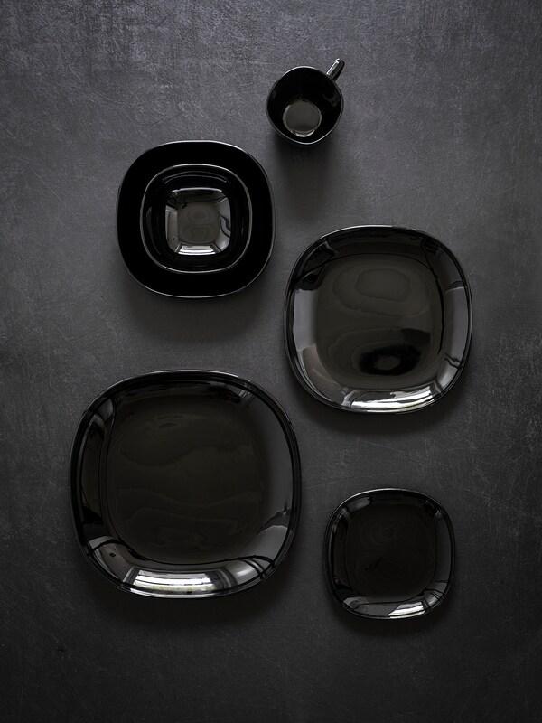 BACKIG บักคิจ จาน, ดำ, 25x25 ซม.
