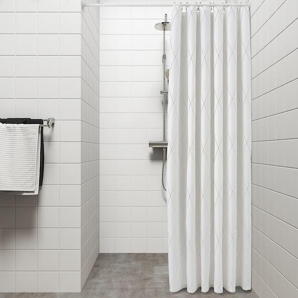 BASTSJÖN บาสเควิน ผ้าม่านห้องน้ำ, ขาว/เทา/เบจ, 180x200 ซม.