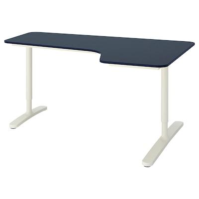 BEKANT บีแคนท์ โต๊ะเข้ามุมขวา, กระเบื้องยาง น้ำเงิน/ขาว, 160x110 ซม.
