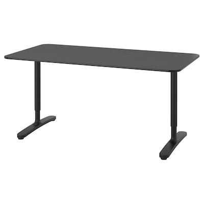 BEKANT บีแคนท์ โต๊ะทำงาน, วีเนียร์แอชย้อมสีดำ/ดำ, 160x80 ซม.